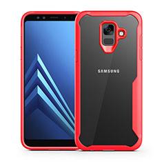 Silikon Schutzhülle Rahmen Tasche Hülle Durchsichtig Transparent Spiegel für Samsung Galaxy A6 (2018) Dual SIM Rot