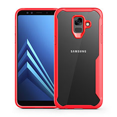 Silikon Schutzhülle Rahmen Tasche Hülle Durchsichtig Transparent Spiegel für Samsung Galaxy A6 (2018) Rot