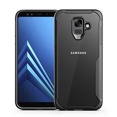 Silikon Schutzhülle Rahmen Tasche Hülle Durchsichtig Transparent Spiegel für Samsung Galaxy A6 (2018) Schwarz