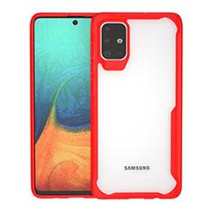 Silikon Schutzhülle Rahmen Tasche Hülle Durchsichtig Transparent Spiegel für Samsung Galaxy A71 5G Rot
