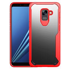 Silikon Schutzhülle Rahmen Tasche Hülle Durchsichtig Transparent Spiegel für Samsung Galaxy A8+ A8 Plus (2018) Duos A730F Rot