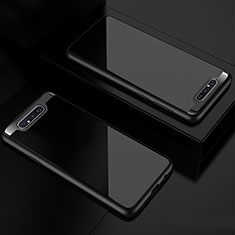 Silikon Schutzhülle Rahmen Tasche Hülle Durchsichtig Transparent Spiegel für Samsung Galaxy A80 Schwarz