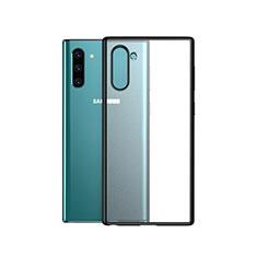 Silikon Schutzhülle Rahmen Tasche Hülle Durchsichtig Transparent Spiegel für Samsung Galaxy Note 10 5G Schwarz