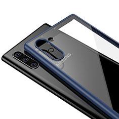 Silikon Schutzhülle Rahmen Tasche Hülle Durchsichtig Transparent Spiegel für Samsung Galaxy Note 10 Blau