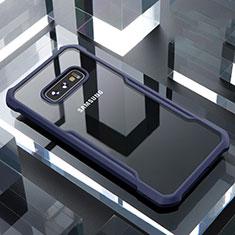 Silikon Schutzhülle Rahmen Tasche Hülle Durchsichtig Transparent Spiegel für Samsung Galaxy S10e Blau