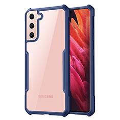 Silikon Schutzhülle Rahmen Tasche Hülle Durchsichtig Transparent Spiegel für Samsung Galaxy S21 5G Blau