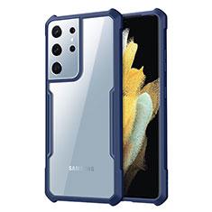 Silikon Schutzhülle Rahmen Tasche Hülle Durchsichtig Transparent Spiegel für Samsung Galaxy S21 Ultra 5G Blau