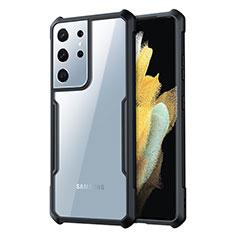 Silikon Schutzhülle Rahmen Tasche Hülle Durchsichtig Transparent Spiegel für Samsung Galaxy S21 Ultra 5G Schwarz
