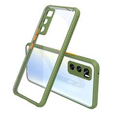 Silikon Schutzhülle Rahmen Tasche Hülle Durchsichtig Transparent Spiegel für Vivo V20 SE Armee-Grün