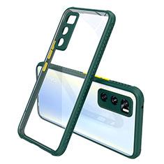 Silikon Schutzhülle Rahmen Tasche Hülle Durchsichtig Transparent Spiegel für Vivo V20 SE Nachtgrün
