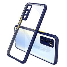Silikon Schutzhülle Rahmen Tasche Hülle Durchsichtig Transparent Spiegel für Vivo Y70 (2020) Königs Blau
