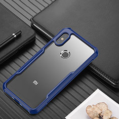 Silikon Schutzhülle Rahmen Tasche Hülle Durchsichtig Transparent Spiegel für Xiaomi Redmi Note 6 Pro Blau