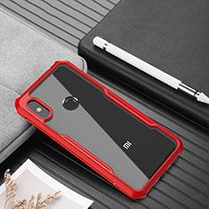 Silikon Schutzhülle Rahmen Tasche Hülle Durchsichtig Transparent Spiegel für Xiaomi Redmi Note 6 Pro Rot