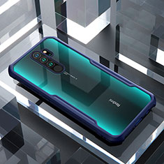 Silikon Schutzhülle Rahmen Tasche Hülle Durchsichtig Transparent Spiegel für Xiaomi Redmi Note 8 Pro Blau