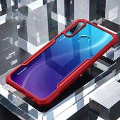 Silikon Schutzhülle Rahmen Tasche Hülle Durchsichtig Transparent Spiegel H01 für Huawei P30 Lite Rot