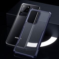 Silikon Schutzhülle Rahmen Tasche Hülle Durchsichtig Transparent Spiegel H01 für Samsung Galaxy S20 Ultra 5G Blau