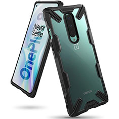 Silikon Schutzhülle Rahmen Tasche Hülle Durchsichtig Transparent Spiegel H02 für OnePlus 8 Schwarz