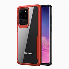 Silikon Schutzhülle Rahmen Tasche Hülle Durchsichtig Transparent Spiegel H02 für Samsung Galaxy S20 Ultra 5G Rot
