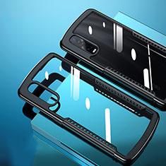 Silikon Schutzhülle Rahmen Tasche Hülle Durchsichtig Transparent Spiegel H03 für Oppo Find X2 Pro Schwarz
