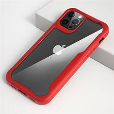 Silikon Schutzhülle Rahmen Tasche Hülle Durchsichtig Transparent Spiegel M01 für Apple iPhone 12 Pro Rot