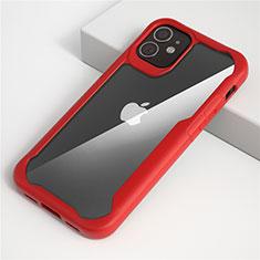 Silikon Schutzhülle Rahmen Tasche Hülle Durchsichtig Transparent Spiegel M01 für Apple iPhone 12 Rot