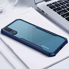 Silikon Schutzhülle Rahmen Tasche Hülle Durchsichtig Transparent Spiegel M01 für Huawei P20 Blau