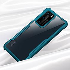 Silikon Schutzhülle Rahmen Tasche Hülle Durchsichtig Transparent Spiegel M01 für Huawei P40 Cyan
