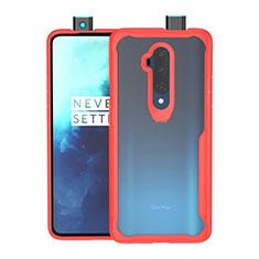 Silikon Schutzhülle Rahmen Tasche Hülle Durchsichtig Transparent Spiegel M01 für OnePlus 7T Pro Rot