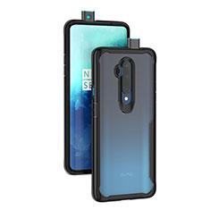 Silikon Schutzhülle Rahmen Tasche Hülle Durchsichtig Transparent Spiegel M01 für OnePlus 7T Pro Schwarz