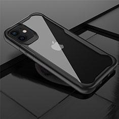 Silikon Schutzhülle Rahmen Tasche Hülle Durchsichtig Transparent Spiegel M02 für Apple iPhone 12 Mini Schwarz
