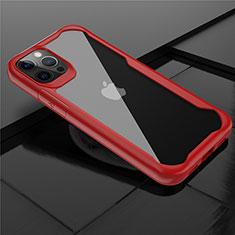 Silikon Schutzhülle Rahmen Tasche Hülle Durchsichtig Transparent Spiegel M02 für Apple iPhone 12 Pro Rot