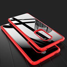 Silikon Schutzhülle Rahmen Tasche Hülle Durchsichtig Transparent Spiegel M02 für Huawei Mate 20 Rot