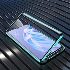 Silikon Schutzhülle Rahmen Tasche Hülle Durchsichtig Transparent Spiegel M02 für Oppo A91 Grün