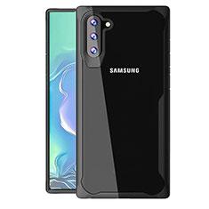 Silikon Schutzhülle Rahmen Tasche Hülle Durchsichtig Transparent Spiegel M02 für Samsung Galaxy Note 10 5G Schwarz