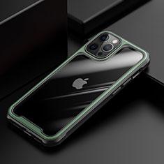 Silikon Schutzhülle Rahmen Tasche Hülle Durchsichtig Transparent Spiegel M03 für Apple iPhone 12 Pro Grün