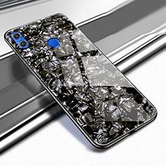 Silikon Schutzhülle Rahmen Tasche Hülle Durchsichtig Transparent Spiegel M03 für Huawei Honor 8X Schwarz