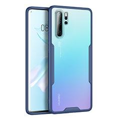 Silikon Schutzhülle Rahmen Tasche Hülle Durchsichtig Transparent Spiegel M03 für Huawei P30 Pro Blau