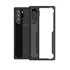 Silikon Schutzhülle Rahmen Tasche Hülle Durchsichtig Transparent Spiegel M03 für Samsung Galaxy Note 10 Plus Schwarz