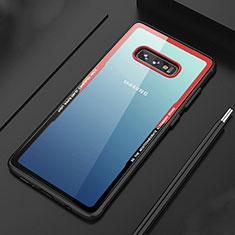 Silikon Schutzhülle Rahmen Tasche Hülle Durchsichtig Transparent Spiegel M03 für Samsung Galaxy S10e Rot
