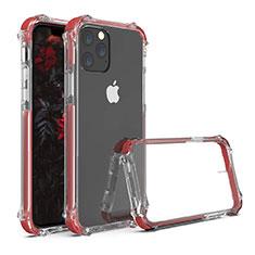 Silikon Schutzhülle Rahmen Tasche Hülle Durchsichtig Transparent Spiegel M04 für Apple iPhone 11 Pro Rot