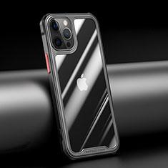 Silikon Schutzhülle Rahmen Tasche Hülle Durchsichtig Transparent Spiegel M04 für Apple iPhone 12 Pro Schwarz