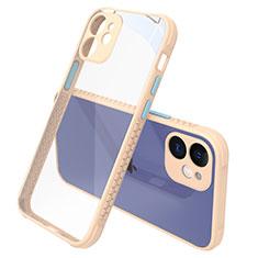 Silikon Schutzhülle Rahmen Tasche Hülle Durchsichtig Transparent Spiegel M05 für Apple iPhone 12 Gold