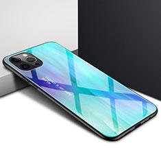 Silikon Schutzhülle Rahmen Tasche Hülle Durchsichtig Transparent Spiegel N01 für Apple iPhone 12 Pro Cyan