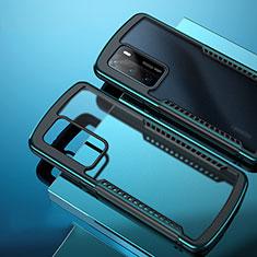 Silikon Schutzhülle Rahmen Tasche Hülle Durchsichtig Transparent Spiegel N01 für Huawei P40 Cyan