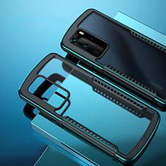 Silikon Schutzhülle Rahmen Tasche Hülle Durchsichtig Transparent Spiegel N01 für Huawei P40 Pro Cyan