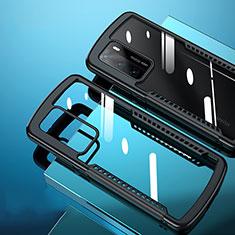 Silikon Schutzhülle Rahmen Tasche Hülle Durchsichtig Transparent Spiegel N02 für Huawei P40 Schwarz