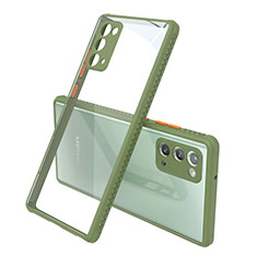 Silikon Schutzhülle Rahmen Tasche Hülle Durchsichtig Transparent Spiegel N02 für Samsung Galaxy Note 20 5G Armee-Grün