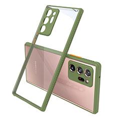 Silikon Schutzhülle Rahmen Tasche Hülle Durchsichtig Transparent Spiegel N02 für Samsung Galaxy Note 20 Ultra 5G Armee-Grün