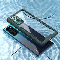 Silikon Schutzhülle Rahmen Tasche Hülle Durchsichtig Transparent Spiegel N03 für Huawei P40 Nachtgrün
