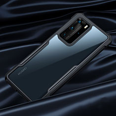 Silikon Schutzhülle Rahmen Tasche Hülle Durchsichtig Transparent Spiegel N07 für Huawei P40 Pro Schwarz